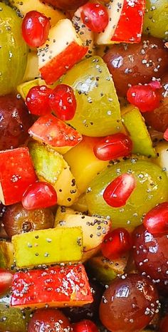 Winter Fruit Salad with Honey Lime Poppy Seed Dressing: apples, grapes, pomegranate.