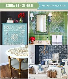 See the top 10 Favorite home decorating stencils of the year - Royal Design Studio Lisboa Tile Stencil - Mediterranean and Bohemian tile stencils for furniture and walls