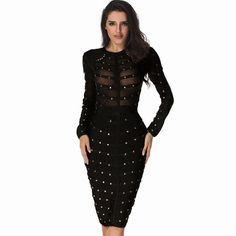 Runway Bodycon Dress Studded Olive Mesh Black Gray Red Knee-length Celebrity Party Bandage Dress || Collect your elegant Clothes or Accessories at mamirsexpress.com. #ModernFashion #ClassicFashion #WomenFashion #SexyWomen #Ladies #trendy #bodysuits #rompers #cocktail #Jewelary #Dresses