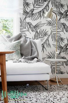 Colibri Bird Pattern Wallpaper - Removable Wallpaper - Palm Areca leaves Wallpaper- Palm Wall Sticker - Self Adhesive Wallpaper - 094