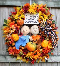 Great Pumpkin Charlie Brown XL Halloween wreath, Peanuts, Linus, pre-lit, jack-o-lantern lights, Fall, Large, Sunflower, red, orange, yellow by IrishGirlsWreaths on Etsy