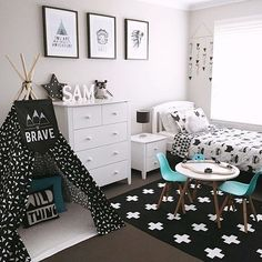 love this black and white kids room!