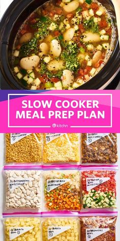 Meal Prep Plan: A Week of Slow Cooker Meals How to Make A week's worth of Slow Cooker or Crockpot meals at once. We'll show you how to meal prep and plan all kinds of recipes for the week. These simple, easy, and healthy breakfasts, lunche Slow Cooking, Slow Cooker Meal Prep, Slow Cooked Meals, Freezer Cooking, Slow Food, Cooking Time, Rice Cooker Recipes, Healthy Crockpot Recipes, Crockpot Meals