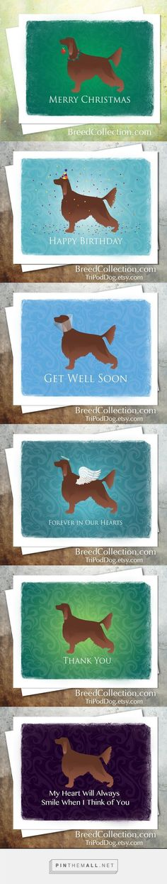 Irish Setter Lovers ... this card collection is for you! The digital downloads are available on Etsy. Use the Avery Note Card templates to print out cards anytime you need them. No more buying expensive cards at the store.