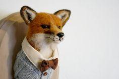 Alex la aguja Fox Felted taxidermia por LittleTeethMarks en Etsy