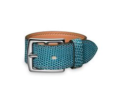 """Etrivière 2 Hermes leather bracelet Petrol blue lizard  Silver and palladium plated hardware, 1"""" wide, 10.5"""" long, adjustable with three holes at 7.5"""", 8"""" and 8.5""""."""