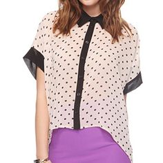 Polka Dot High-Low Button Up - FOREVER21