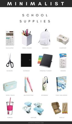 Minimalist School Supplies for College and High School. School essential packing list for girls and boys. Minimalist School Supplies for College and High School. School essential packing list for girls and boys. Middle School Supplies, Middle School Hacks, School Supplies Highschool, High School Hacks, High School Essentials, Back To School Highschool, Highschool School Supplies List, Back To School Stuff, Back To School Clothes