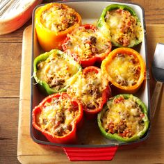 Mexican Stuffed Peppers Recipe -This nutritious yet economical summer meal makes the most of my home-grown peppers. I like to top it with sour cream and serve with tortilla chips and salsa, but it's wonderful on its own, too. Casserole Recipes, Meat Recipes, Mexican Food Recipes, Dinner Recipes, Cooking Recipes, Ethnic Recipes, Vegetable Recipes, Vegetarian Recipes, Mexican Meals