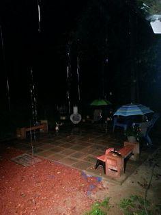 The Patio in an evening eain shower.