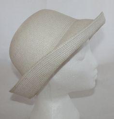 Vintage Hat Women's White Turned Up Brim by ilovevintagestuff