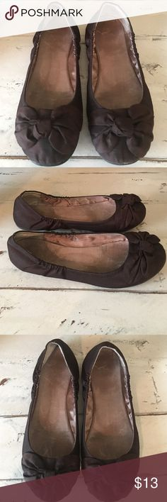 Chinese Laundry Flats Dark brown sateen-gathered sides-bow across toe-excellent condition-the sole still has some of the fuzzy left worn a few times.  Super cute! Chinese Laundry Shoes Flats & Loafers