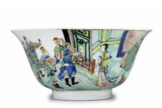 A famille verte bowl, Kangxi period Pottery Bowls, Ceramic Bowls, Chinese Figurines, Art Chinois, Military Figures, Asian Decor, Chinese Ceramics, Chinese Antiques, Chinese Art
