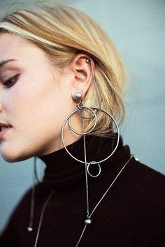 Earrings In Style Zimmermann - Silver Suspended Link Earrings Silver Earrings, Silver Jewelry, Hoop Earrings, Silver Ring, Silver Bracelets, Cartilage Earrings, Hammered Silver, Star Earrings, Sterling Silver
