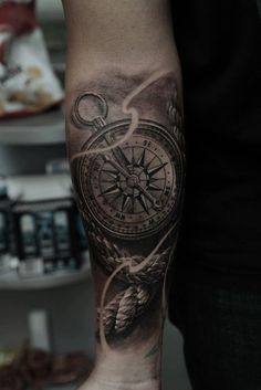 realistic-compass-forearm-tattoo - 100 Awesome Compass Tattoo Designs  <3 <3