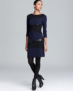 DKNYC Three Quarter Sleeve Dress with Faux Leather | Bloomingdale's