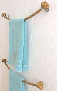 TOWEL HOLDER RACK Rail handmade nautical natural Manila rope decor for bathroom…