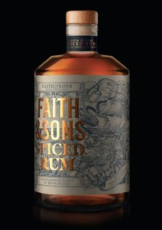 Faith & Sons Rum by Oveja & Remi – Liquor Rum Bottle, Wine Bottle Labels, Liquor Bottles, Beverage Packaging, Bottle Packaging, Brand Packaging, Whisky, Cigars And Whiskey, Scotch Whiskey