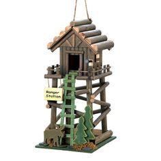 RANGER STATION BIRD HOUSE Moose Pine Trees Birdhouse Yard Garden Decor 10016369 #ebay #birdhouse #birds #moose #ranger #birdhouses