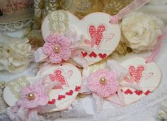 chabby chic paper envelopes   Heart Shaped Shabby Chic Tags