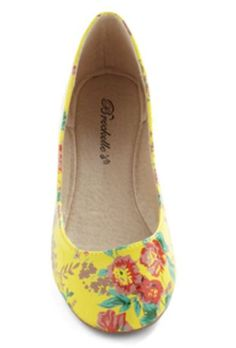 Yellow Floral Flats  $27.99  woman shoes