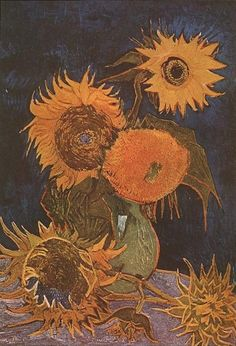Still Life: Vase with Five Sunflowers - Vincent van Gogh . Created in Arles in August, Find a print of this Oil on Canvas Painting Rembrandt, Vincent Van Gogh, Art Van, Flores Van Gogh, Desenhos Van Gogh, Van Gogh Still Life, Van Gogh Flowers, Van Gogh Arte, Van Gogh Pinturas