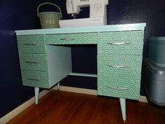 diy fabric | Fabric covered desk at Just Peachy, Darling