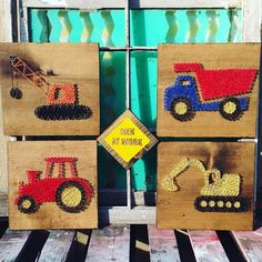 Set of 4 12x12 string art signs For your little ones construction zone! This fun set consists of a crane, tractor, dump truck and excavator. Men at Work sign thrown in to round out the set! Silver nails create the shape of each vehicle while colorful strings fill them in. All on dark walnut stained boards. Custom colors can be requested! Finished size of each is 12x12 and Men at Work sign is 6x6. All with picture hangers attached to the back. Shipped USPS. Keywords: String Art Constr...