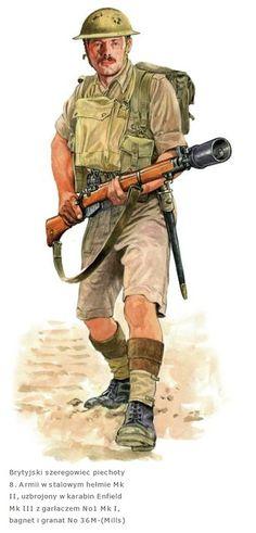 BRITISH ARMY - Soldato dell' 8a Armata armato con carabina Enfileld Mk III con lanciagranate