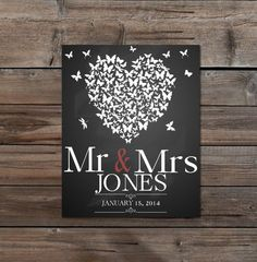 ♥This is a custom designed printable perfect for a wedding or anniversary gift. its a heart made up of butterflies and you can personalise with a