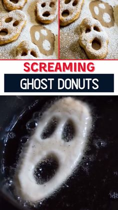 These Screaming Ghost Donuts are the perfect fast and easy Halloween treat for kids! They are so easy to make using refrigerated biscuit dough and are always a hit. Save this easy creepy Halloween dessert recipe for later! Hallowen Food, Halloween Treats For Kids, Halloween Food For Party, Holiday Treats, Holiday Recipes, Halloween Decorations, Homemade Halloween Treats, Haloween Ideas, Halloween Snacks For Kids