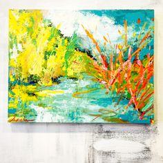 Glistening Marsh Palette Knife Painting by Marquin Campbell - www.marquindesigns.com