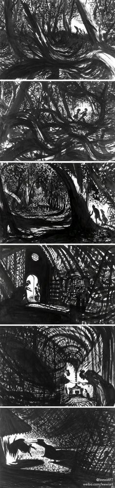Lorenzo Mattotti, Hansel y Gretel. Storyboard, Lorenzo Mattotti, Hansel Y Gretel, Animation, Comic Panels, Children's Book Illustration, Book Illustrations, Black And White Illustration, Art Graphique