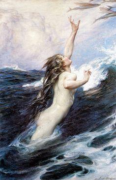 Herbert James Draper (English, 1863-1920). Flying Fish, 1910
