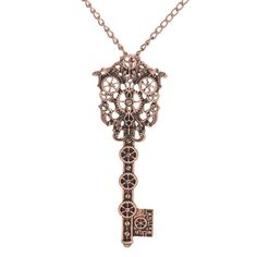 Key with Gears skeleton Pendant Chain Necklace