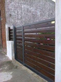 Resultat D Imatges De Portones De Madera Modernos Front Gate Design Fence Design Gate Design