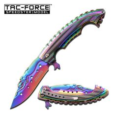 NEW-Tac-Force-Rainbow-Iridescent-Mermaid-Spring-Assisted-Folding-Knife