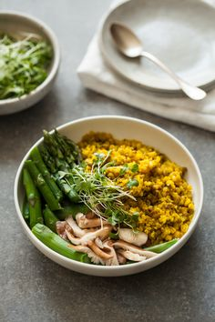 Mung Bean & Quinoa Bowls with Spicy Ginger Turmeric Broth
