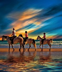 Horse riding on the beach at Sunset in Barbate, Cadiz, Spain