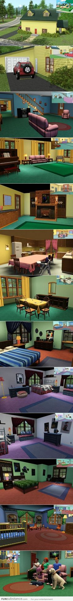Family Guy and The Sims. Omg I give all the credit in the world to whomever took the time to do this.