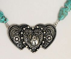 Cowgirl Bling Western HEARTS Buckle Horse TURQUOISE Nuggets necklace set www.baharanchwesternwear.com