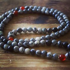 New Silkstone and Carnelian Mala!  http://theeasiersofterway.com/shop  #buddhism #buddhist #silkstone #carnelian #mala #malabeads #necklace #jewelry #gemstones #yoga #yogabeads