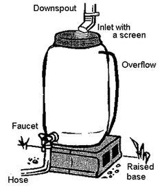 DIY rain barrel. Benefits: Use water wisely by watering your garden with free water collected from your roof.  Rain water is great for plants.  Connect a soaker hose to your barrel, a great way to water shallow rooted plants such as rhododendrons. This untreated water is great for your indoor plants, your garden and lawn, or washing your car.