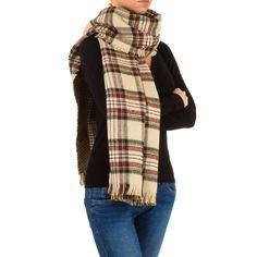 Modischer Damen XXL Schal mit klassischem Karo-Muster. Länge: ca. 200 cm; Breite: ca. 60 cm