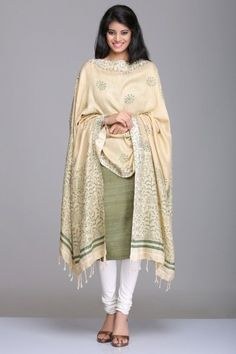 Olive Green & Beige Unstitched Matka Silk & Khadi Cotton Suit With Tribal Theme Hand Block Print On The Dupatta