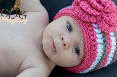 Crochet Baby Beanie, Baby Hat, Hat with Flower, MADE TO ORDER, Newborn to 24 Months. $22.00, via Etsy.