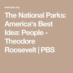 The National Parks: America's Best Idea: People - Theodore Roosevelt | PBS