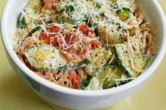 Pasta with Zucchini, Tomatoes, and Creamy Lemon-Yogurt Sauce - use quinoa pasta instead