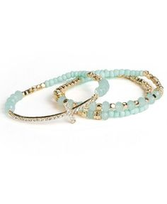 Mint Bead Cross Stacking Bracelet Set ♥
