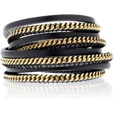 LK DESIGNS Chain Black Wrap Around Bracelet ($120) ❤ liked on Polyvore